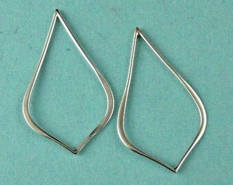 Sterling Silver Small Pointed Teardrop Link 30x18mm -2 pcs