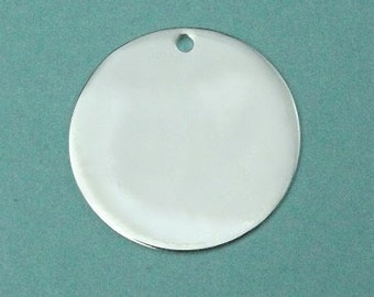 18.5mm Sterling Silver Round Blank Stamping Disc Disk Tag, 1 pc 24ga, 1.2mm Hole