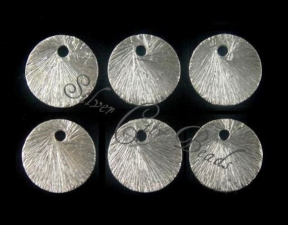 9mm Brushed Silver Discs, Disks,  10 Pcs,  Sterling Silver Brushed Textured Round Disc- BULK Discount
