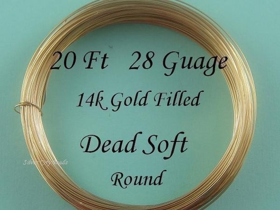 28 g gauge ga, 20 Ft- 14K Gold Filled  Round Wire- Dead Soft