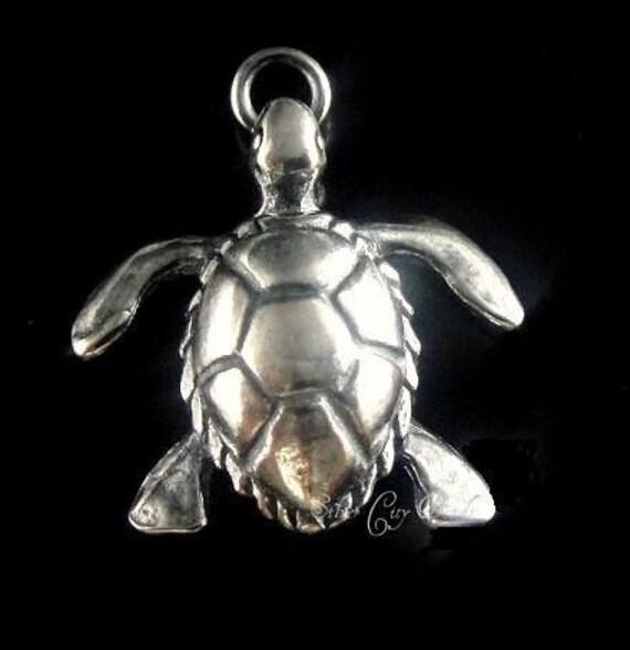 Bali Sterling Silver Turtle Charm, Sea Turtle 14.2x14.6 mm