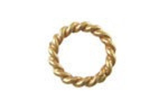 Vermeil Jump Rings Bali 24k Vermeil twisted Wire Jump Ring-Closed ,10 Pcs, 6mm