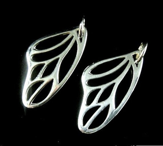 Silver Butterfly Wing Charm, SALE- 2 pcs Thai Small  Butterfly Wings-25x10mm