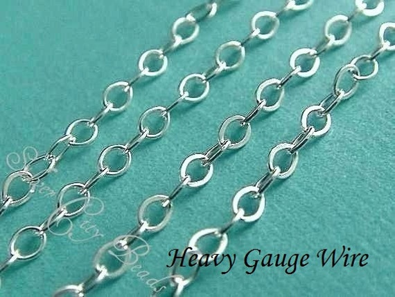 Silver Flat Cable Chain, 6 Ft Sterling Silver Flat Cable Chain-UPGRADE, HEAVY Wire Gauge- 2.0x1.7