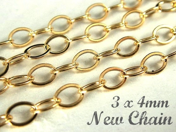 14k Gold Filled Flat Cable Chain, 3 Ft  Heavy Guage Wire 3x4mm