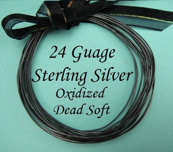 24g gauge ga, 10 Ft Sterling Silver Round Wire, OXIDIZED  Dead Soft BULK