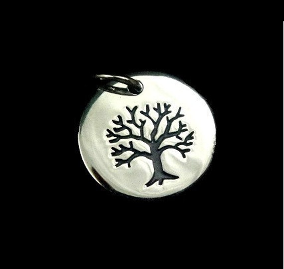 Sterling Silver Tree of LIfe Small Etched Charm