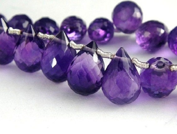Amethyst Faceted Teardrop Briolette-7x5-9x6mm, High Quality, 4 Pcs,