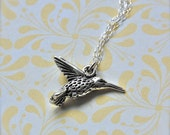 Hummingbird Charm Necklace Sterling Silver