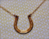 Horseshoe Necklace Brass and Gold