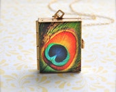 The Incredible Four-Way Book Art Locket - Peacock Feather - 14k Gold -Filled Chain
