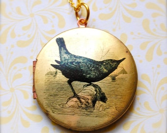 Vintage Bird Locket Necklace