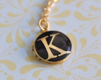 Locket Necklace Initial Locket Necklace Bridesmaids Gifts Jewelry Letters Alphabet Customized Gift Custom Gifts Wedding Unique
