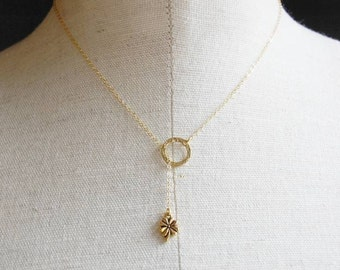 Lucky Four Leaf Clover Charm Lariat Necklace