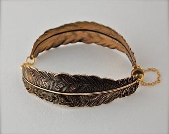 Gold Feathers Bracelet Feather Jewelry Bracelets Bird Birds Unique Gifts for Her