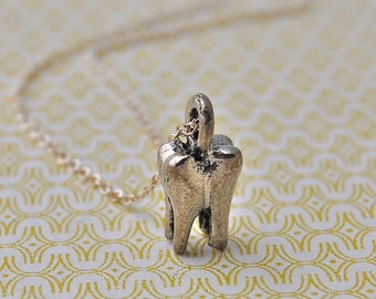 Tiny Molar Tooth Miniature Charm Necklace Comes in Silver or Gold Unusual Unique Charms Kitsch Dental Dentist