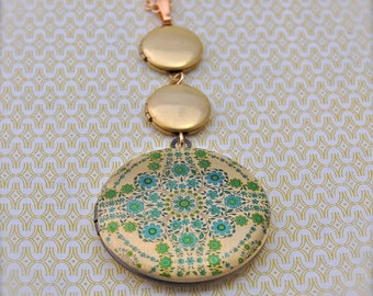 Vintage Inspired Lockets Trio Floral Wallpaper Green/Gold Long Necklace