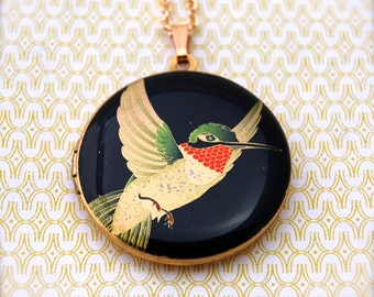 Hummingbird Locket Pendant Necklace