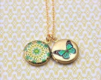 The Tiniest Floral and Butterfly Lockets Duo Necklace