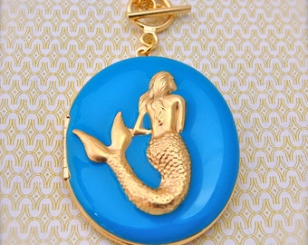 Mermaid Locket Jewelry Necklace Turquoise Nautical Necklaces Mermaids Charm Brass Gold Long Necklace Layering Ocean Sea