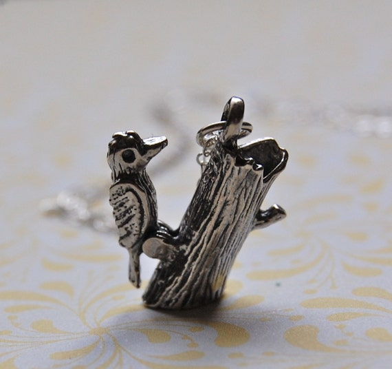 The Woodpecker - Sterling Silver - Moveable
