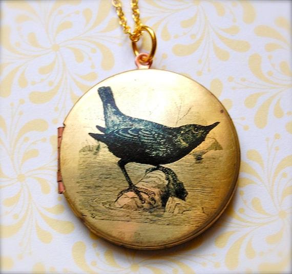 Vintage Bird Locket Necklace