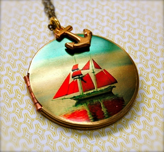 Locket Vintage Sailor Necklace Ship Anchor Jewelry Nautical Themed Lockets Ocean Sunset Sail Sea Mermaid Long Necklace Vintage Brass Gift