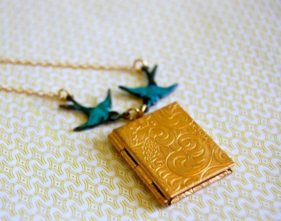 Book Locket Necklace with Turquoise Birds Books Lockets Jewelry Bird Locket Necklace Triangle Locket Gold Filled Chain Gift for Her Weddings