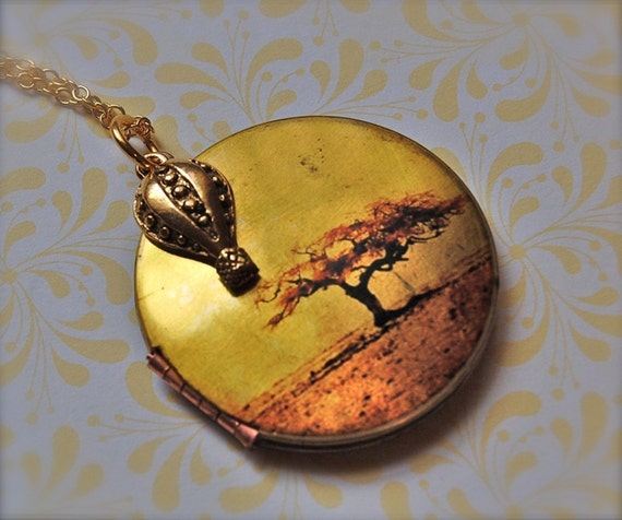 Hot Air Balloon Locket Autumn Tree Sunset Sky Orange Gold Leaf Leaves Art Jewellery Charm Necklace Authentic Vintage Locket Handmade