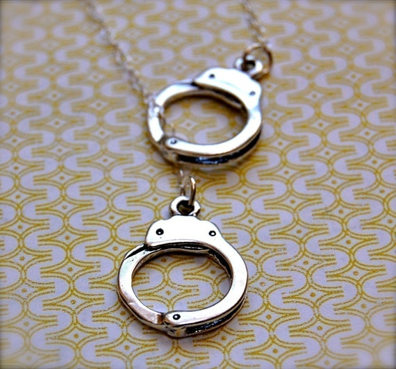 Handcuffs Necklace Lariat - Sterling Silver