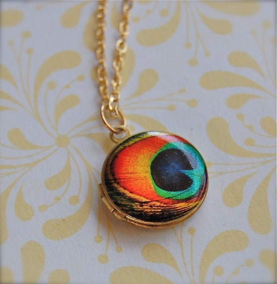 Tiny Locket Peacock Feather Art Print Turquoise Teal Orange Necklace