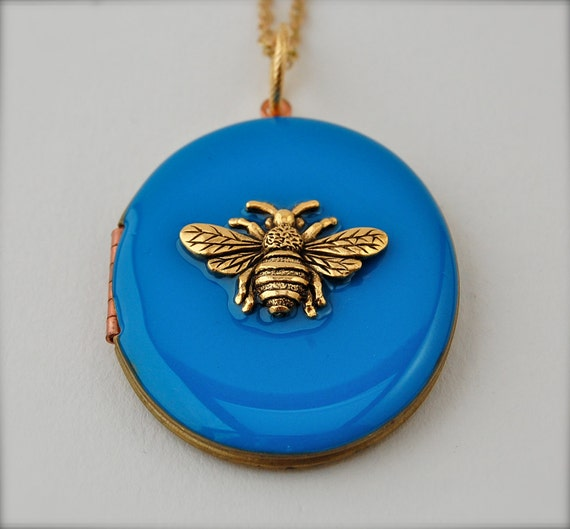 The Bumblebee on Blue Locket Necklace - Vintage