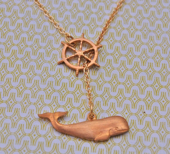 Whale and Ship Wheel Charms Nautical Themed Lariat Necklace