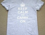 Keep Calm And Carry On KIDS T-Shirt (Heather Grey- white ink) 2, 4, 6, 8, 10, 12 American Apparel