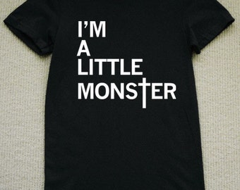 I'm A Little Monster WOMENS T-Shirt lady gaga (Black- White Ink) S, M, L, XL American Apparel