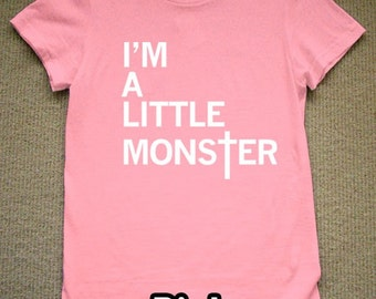 I'm A Little Monster WOMENS T-Shirt lady gaga (Pink- White Ink) S, M, L, XL American Apparel