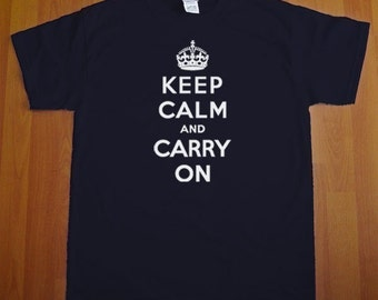 Keep Calm And Carry On MENS T-Shirt (Navy- White Ink) S, M, L, XL, XXL