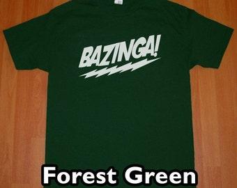 Bazinga The Big Bang Theory MENS T-Shirt (Forest Green- White Ink) S, M, L, XL, XXL