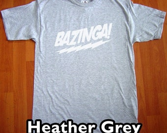 Bazinga The Big Bang Theory MENS T-Shirt (Heather Grey- White Ink) S, M, L, XL, XXL