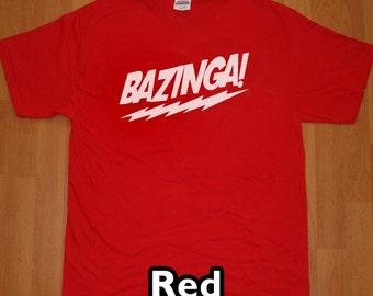 Bazinga The Big Bang Theory MENS T-Shirt (Red- White Ink) S, M, L, XL, XXL