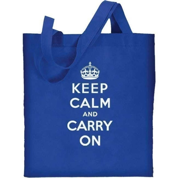 Keep Calm and Carry On Re-useable Cotton Canvas Tote Bag (royal blue)