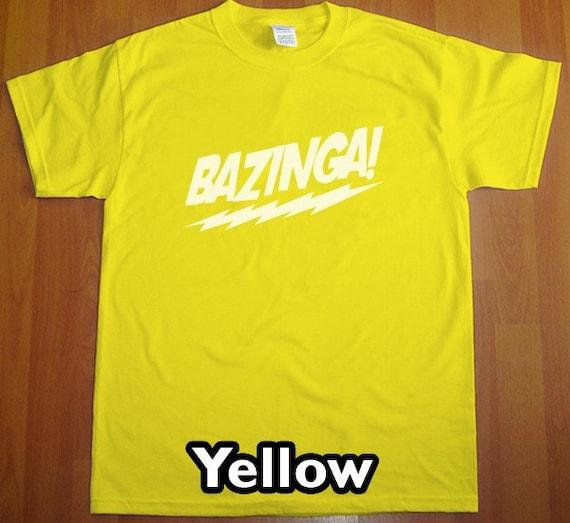 Bazinga The Big Bang Theory MENS T-Shirt (Yellow- White Ink) S, M, L, XL, XXL
