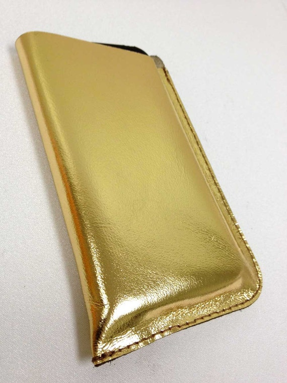 Handmade Gold Leather iPhone Case 3G/3GS/4/4S Cover iPod cozy sleeve pouch