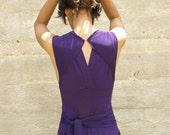 Convertible bridesmaids  dress-Wrap dress- Purple maxi dress-Casual and evening womens dress-prom dress-Turnaround slit dress