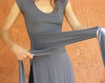 Grey womens top tunic- Tibetan wrap tunic with slits-Wrap top for women-made to order short or midi length sleeves-Choose your color
