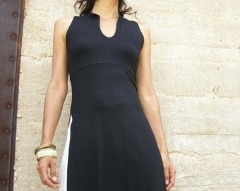 Summer Womens top tunic-Womens blouse tunic -Asian lycra/jersey  tunic in black-Sleeveless womens tunic with sllits