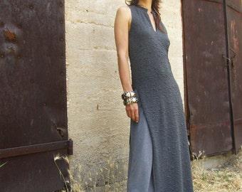 ASIAN maxi dress/ TUNIC-Womens sleeveless elegant maxi dress-maxi tunic-Made to order-Summer womens dress in gray-Bridesmaid dress