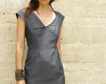 Raglan Mini dress-My little French dress-Party dress-Formal dress-Cocktail dress-Summer dress-Tailored dress-Gray grey dress