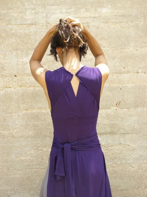 Convertible bridesmaids  dress-Wrap dress- Purple maxi dress-Casual and evening womens dress-prom dress-Turnaround slit dress-maxi dress