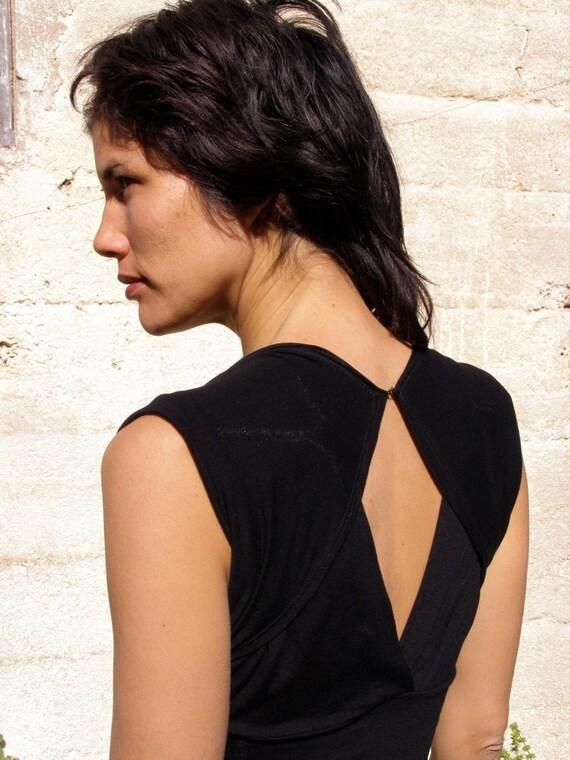 Free shipping -Womens  top blouse-Summer top- The TURNAROUND CHIC TOP-Womens tops-2 ways shirt-Black womens top-Convertible top/shirt